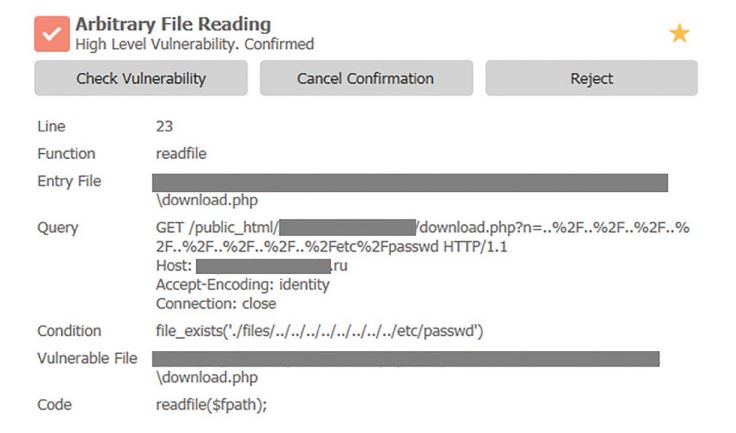 Figure 41. Example of Arbitrary File Reading detection