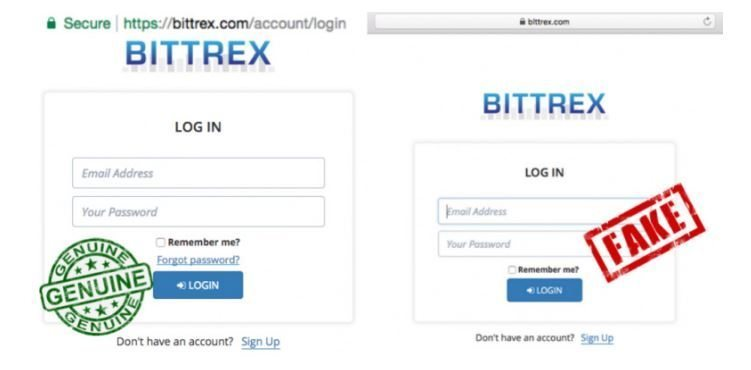 Figure 7. Bittrex website: official version and phishing version