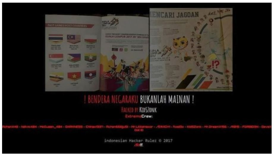 Figure 11. Deface of Malaysian sites due to the Indonesian flag being printed upside down in a souvenir guidebook for the 29<sup>th</sup> Southeast Asian Games