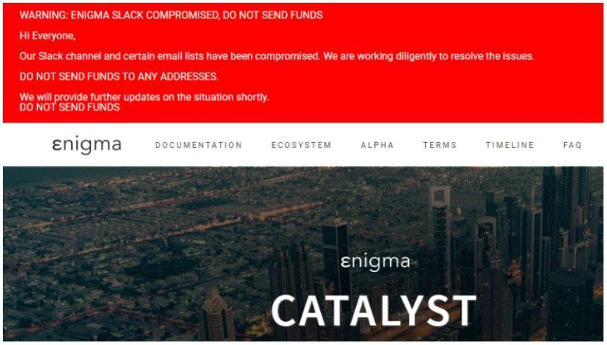 Figure 20. Attack on Enigma Catalyst blockchain platform