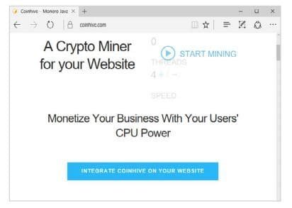 Service for embedding a crypto miner in web applications