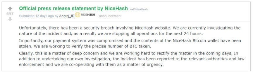 Statement from NiceHash regarding theft of bitcoins