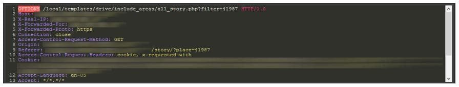 Example of a request used in an Optionsbleed attack (screenshot from PT AF)