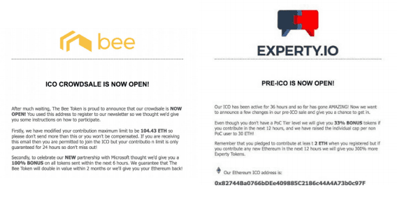Phishing messages sent to Bee Token and Experty investors