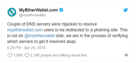 Figure 12. Notice regarding the MyEtherWallet.com attack