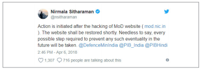 Figure 13. Message about hacking of the Indian Ministry of Defense website
