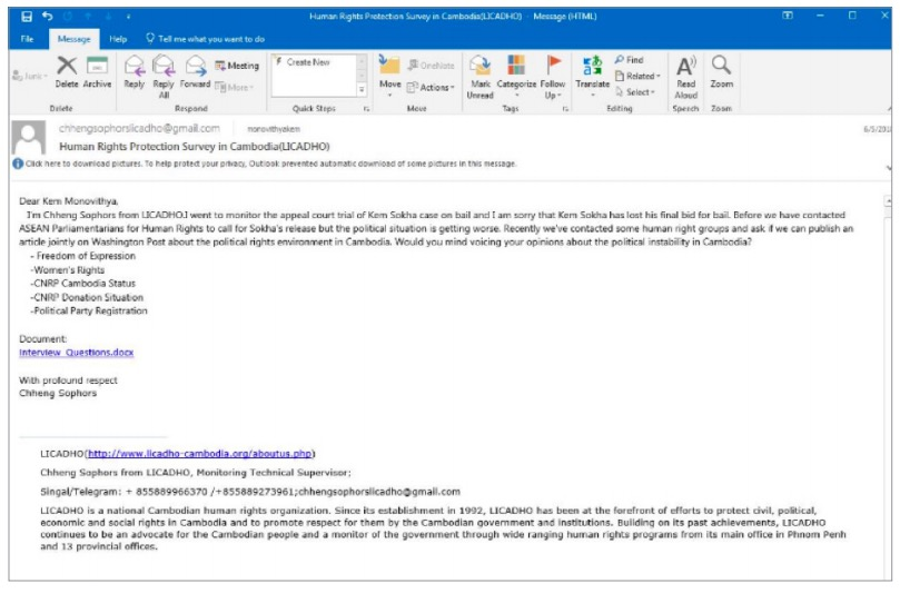 Figure 14. Phishing email with malicious attachment