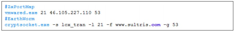 Figure 8. Network indicators found in the BAT scripts