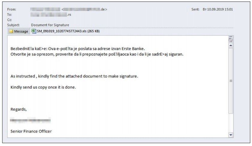 Figure 26. Phishing message from TA505 to a Serbian bank