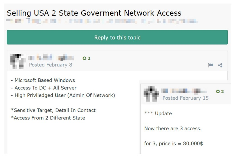 Figure 8. Advertising domain administrator rights on a government network