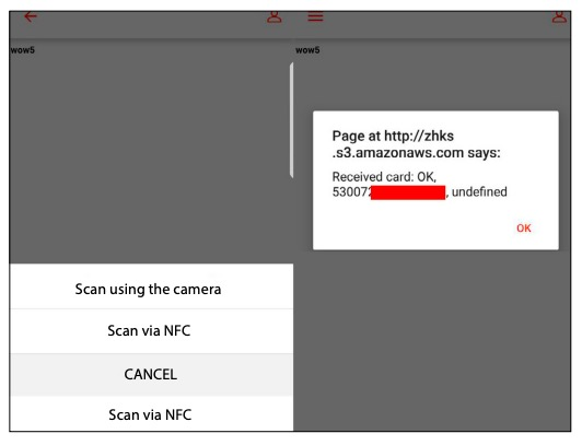 Figure 10. Card scan manipulation