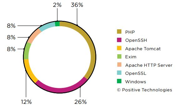 Figure 12. Vulnerable software (percentage of detected arbitrary code execution vulnerabilities)